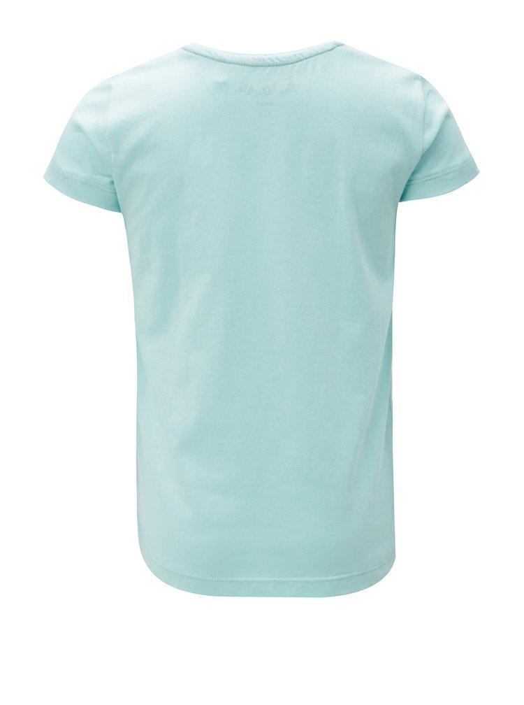 Modré holčičí tričko s potiskem a volány 5.10.15.