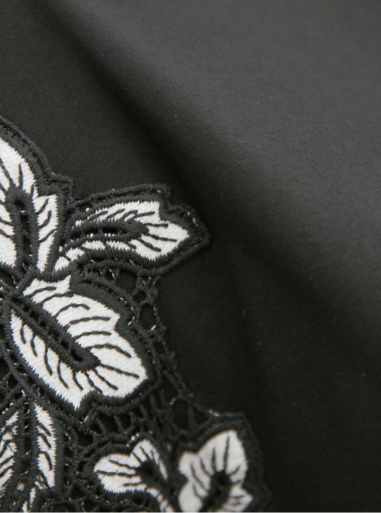Černé tričko s krajkou na rukávech Dorothy Perkins Curve