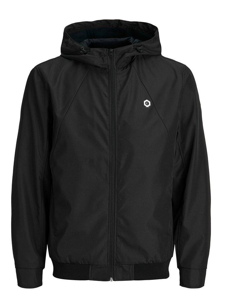 Černá voděodolná bunda s kapucí Jack & Jones Rio