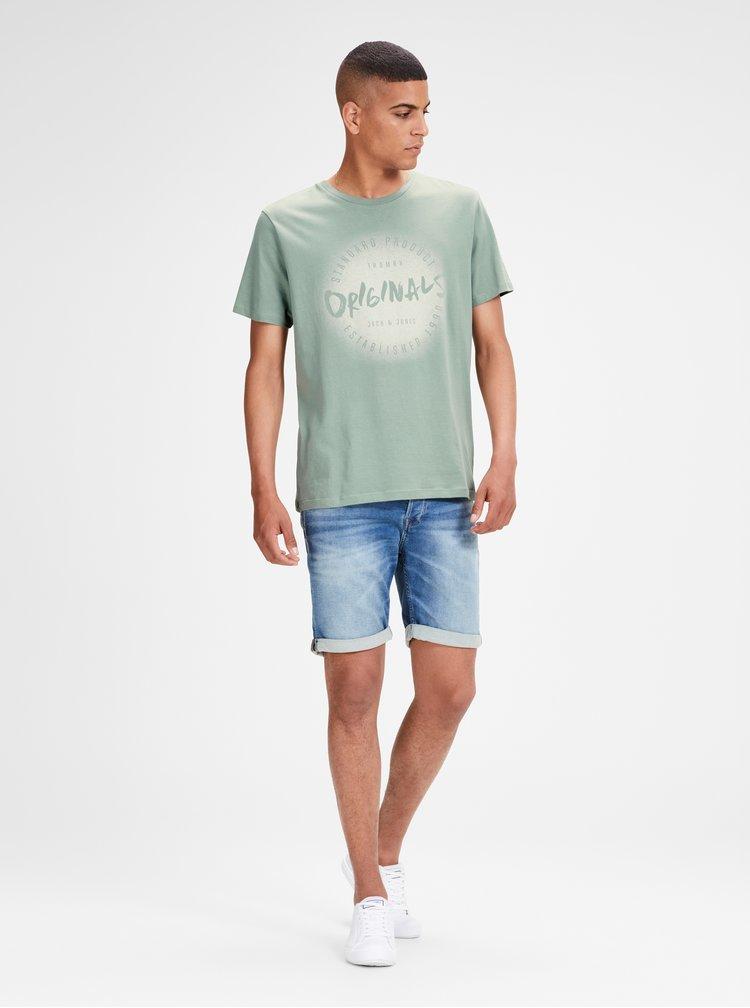 Světle zelené tričko s potiskem Jack & Jones Reji