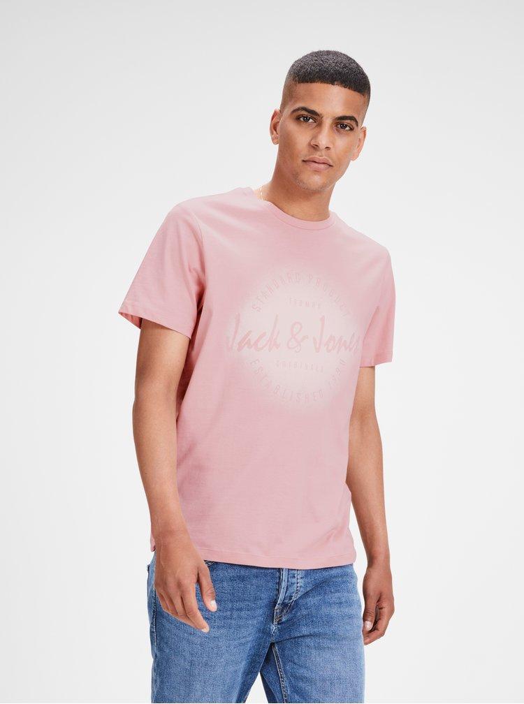 Světle růžové tričko s potiskem Jack & Jones Reji
