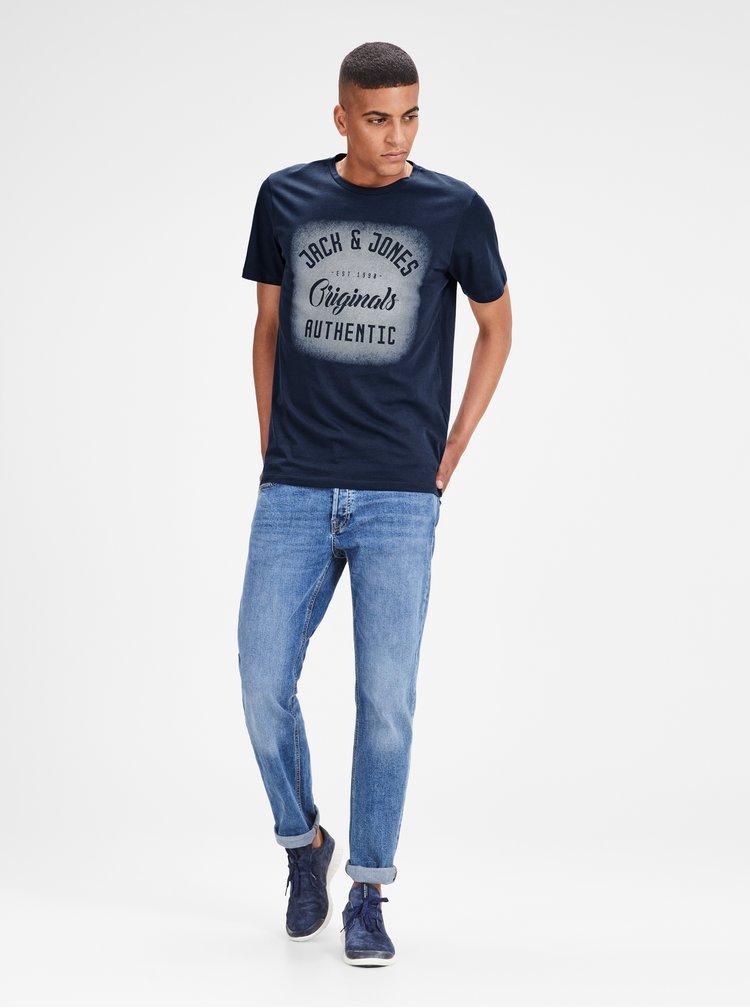 Tmavomodré tričko s potlačou Jack & Jones Reji