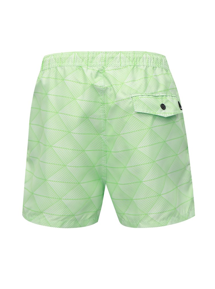 Krémovo-zelené vzorované pánské plavky Quiksilver
