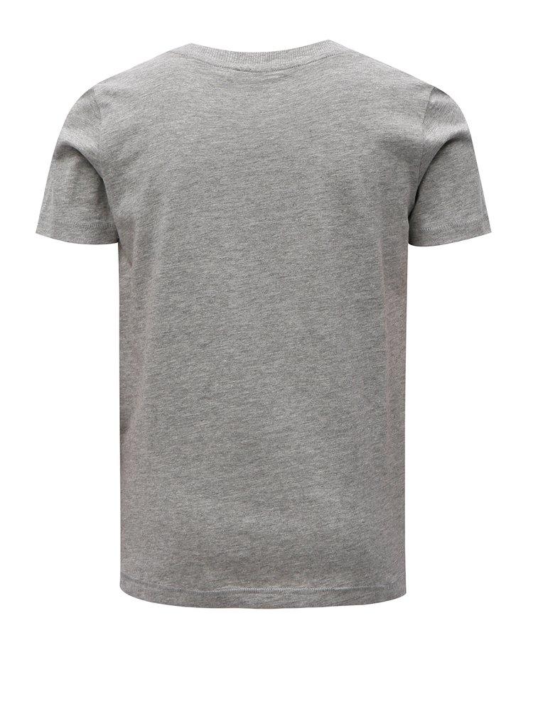 Šedé klučičí žíhané tričko s potiskem LIMITED by name it Mlui