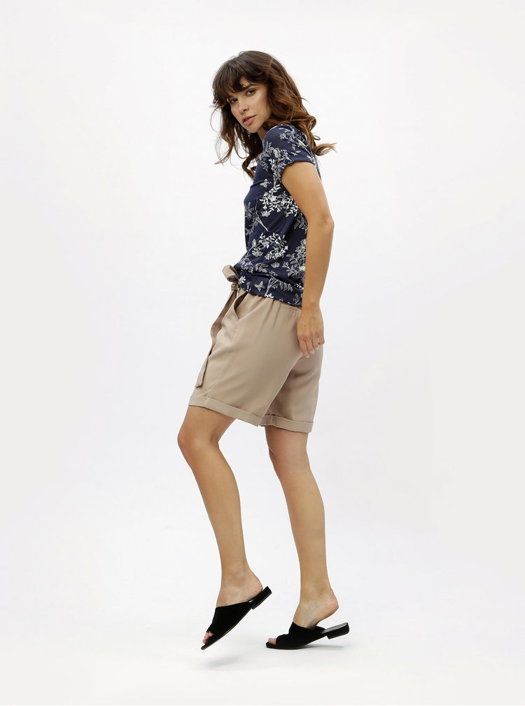 Tmavomodré kvetované tričko M&Co