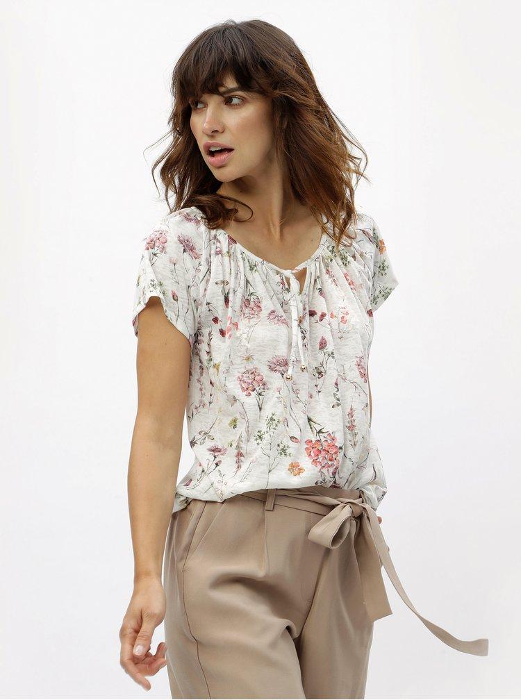 Bílé květované tričko s flitry M&Co