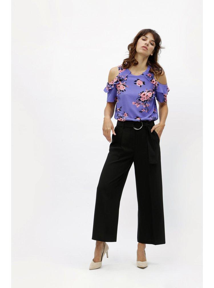 Bluza mov cu model floral si decupaje pe umeri M&Co