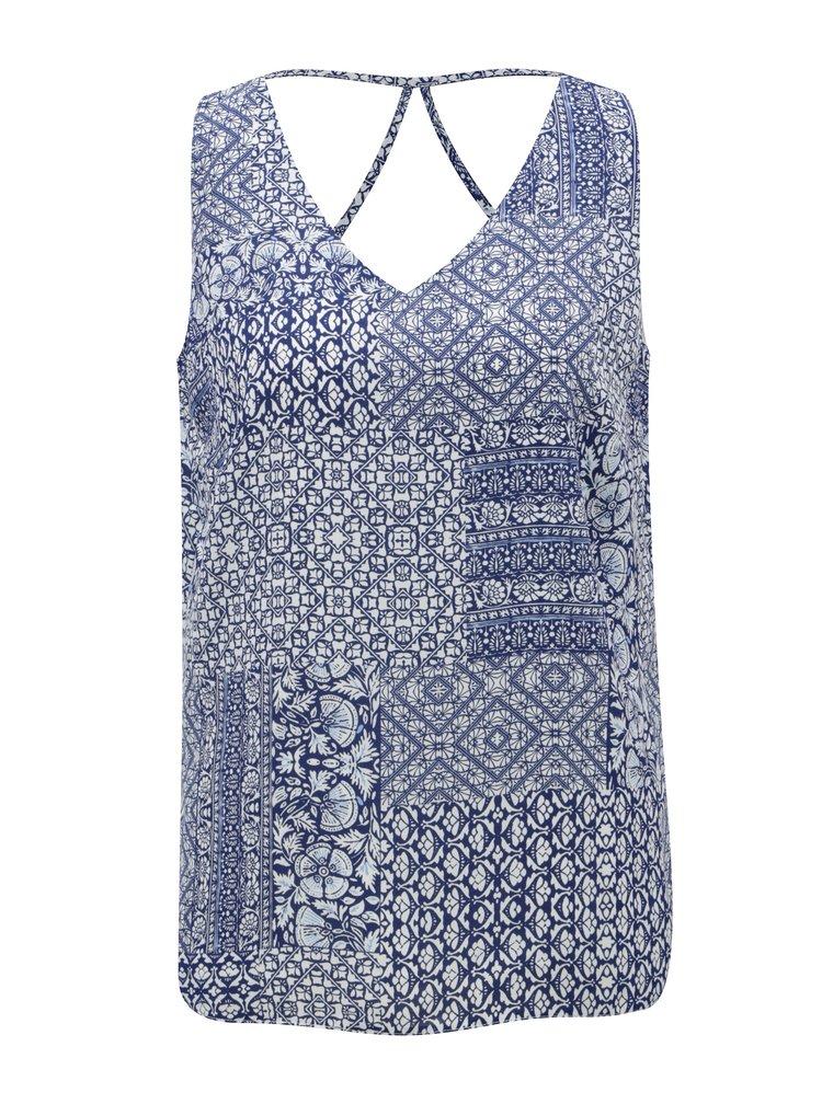 Tmavě modrý vzorovaný top s pásky na zádech M&Co