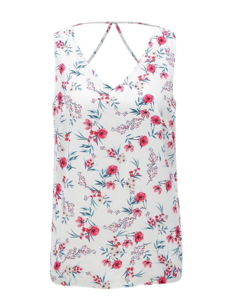 Bíly květovaný top s pásky na zádech M&Co