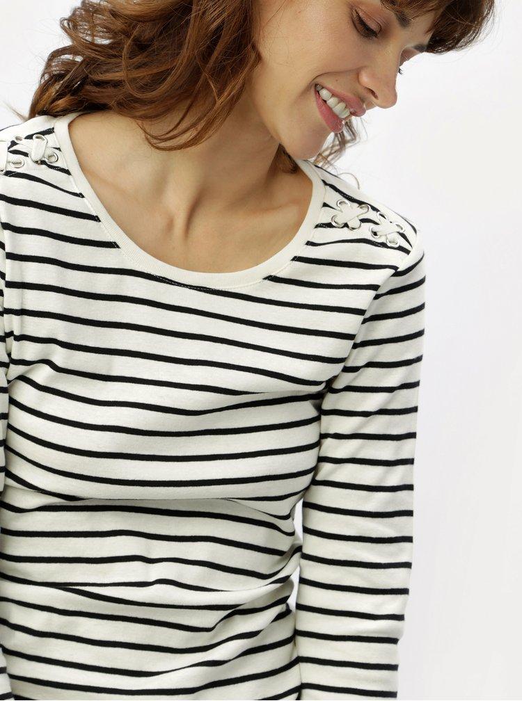 Černo-krémové pruhované tričko s 3/4 rukávy M&Co