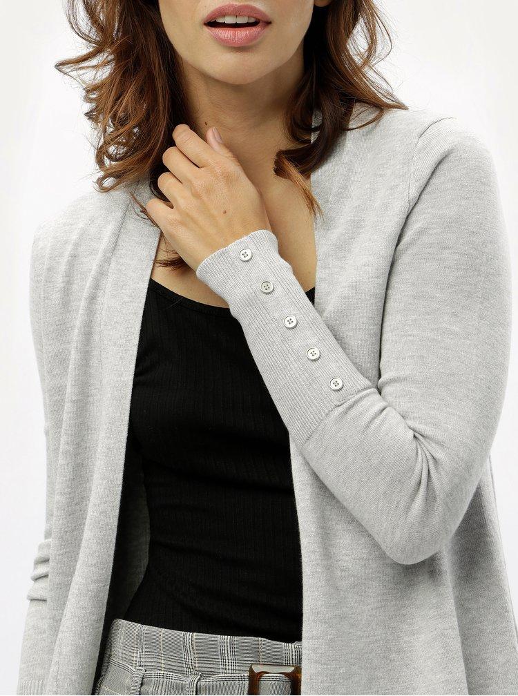 Světle šedý žíhaný kardigan s knoflíky na rukávech M&Co