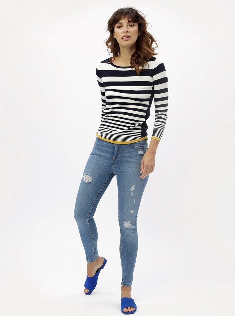 Bílo-modrý pruhovaný svetr M&Co