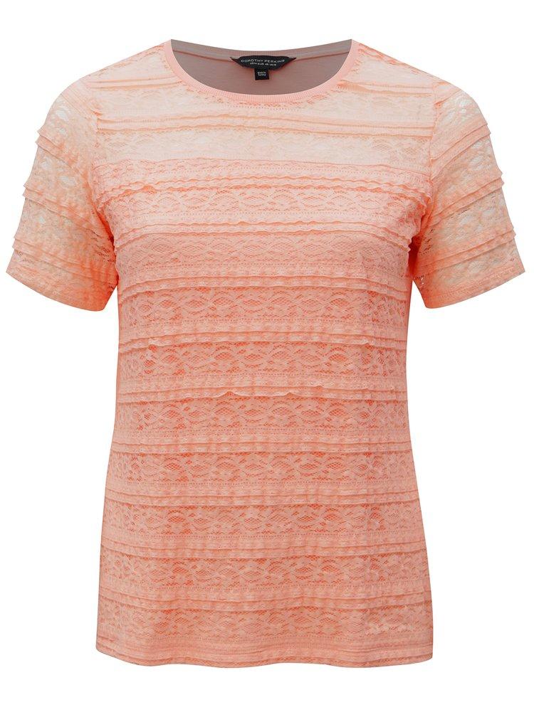 Korálové tričko s krajkou Dorothy Perkins