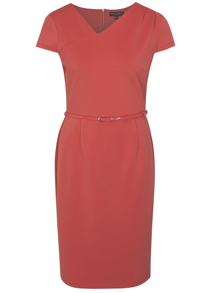 Korálové pouzdrové šaty s páskem Dorothy Perkins
