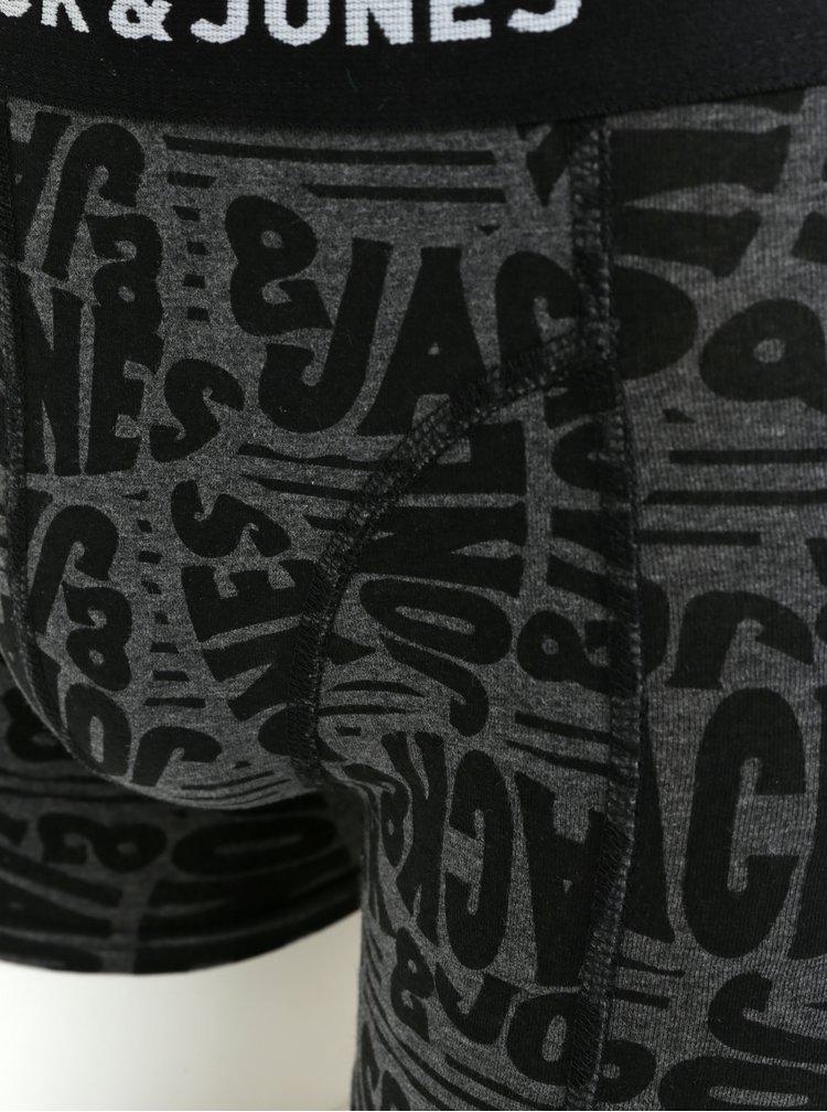 Sada tří boxerek v černé šedé a modré barvě Jack & Jones