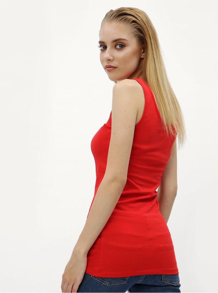 Červené tílko s průsvitným detailem ONLY Molly