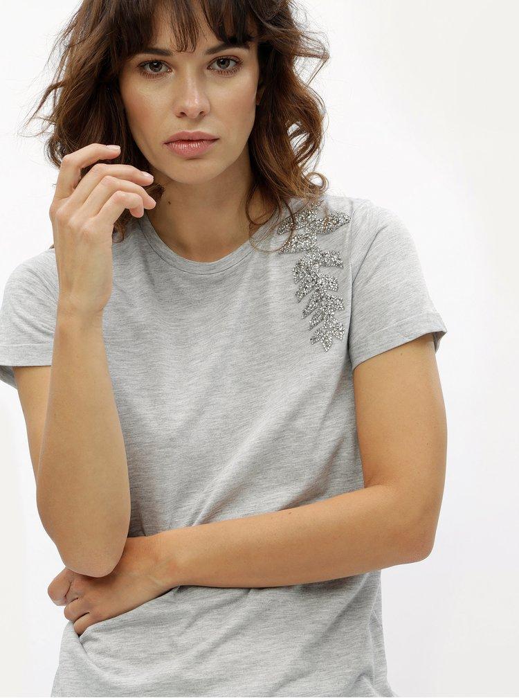 Sivé tričko s ozdobnou aplikáciou Dorothy Perkins
