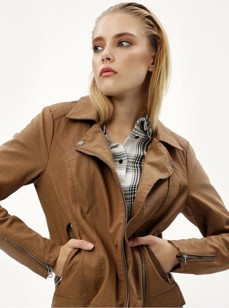 Jacheta maro din piele sintetica ONLY Saga