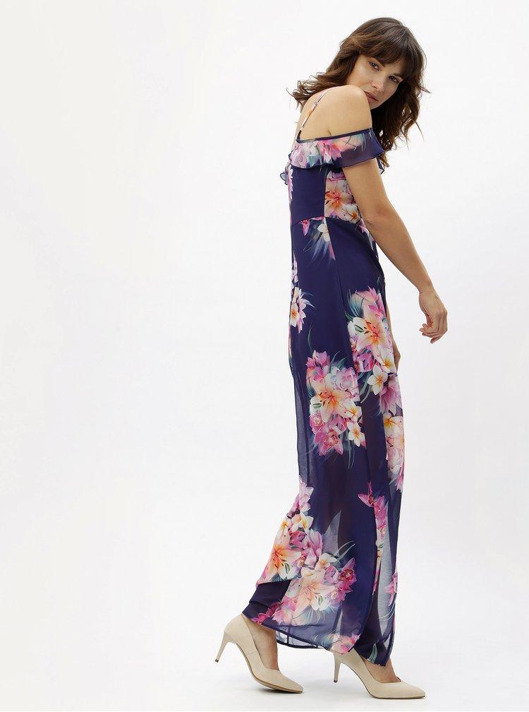 Modré květované maxišaty s na ramínka Scarlett B