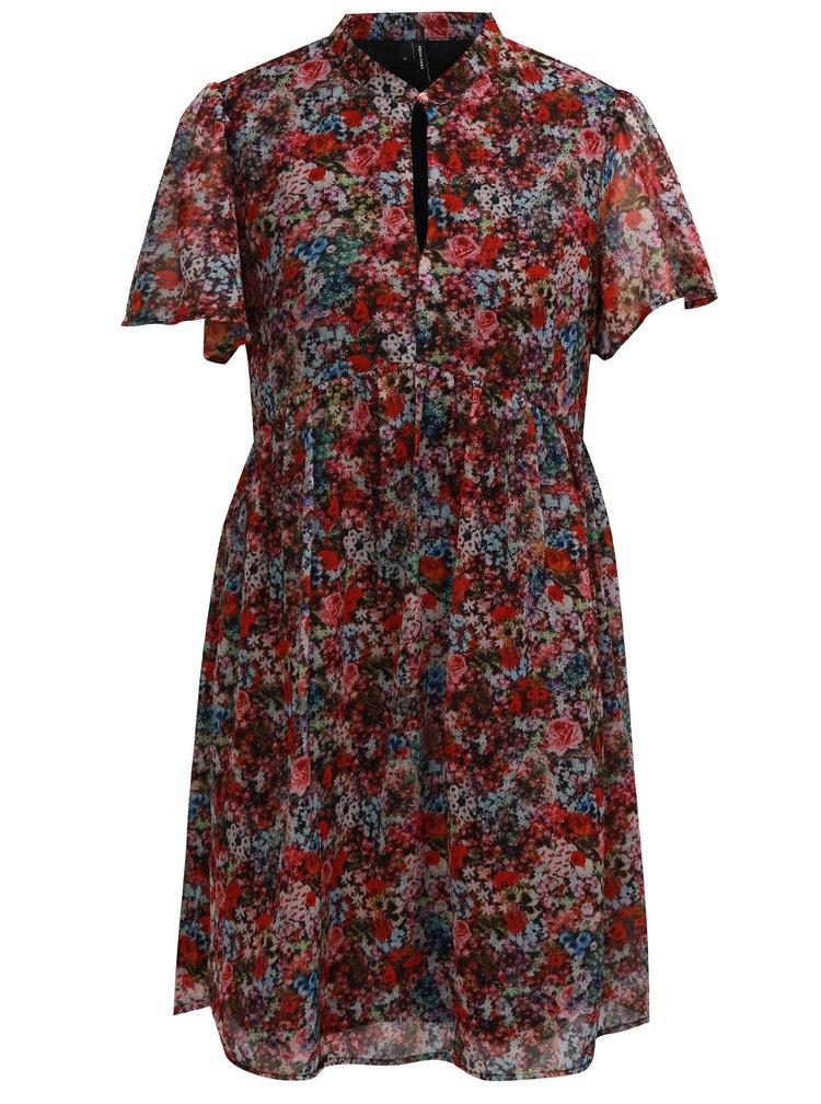 Černo-červené květované šaty VERO MODA Power