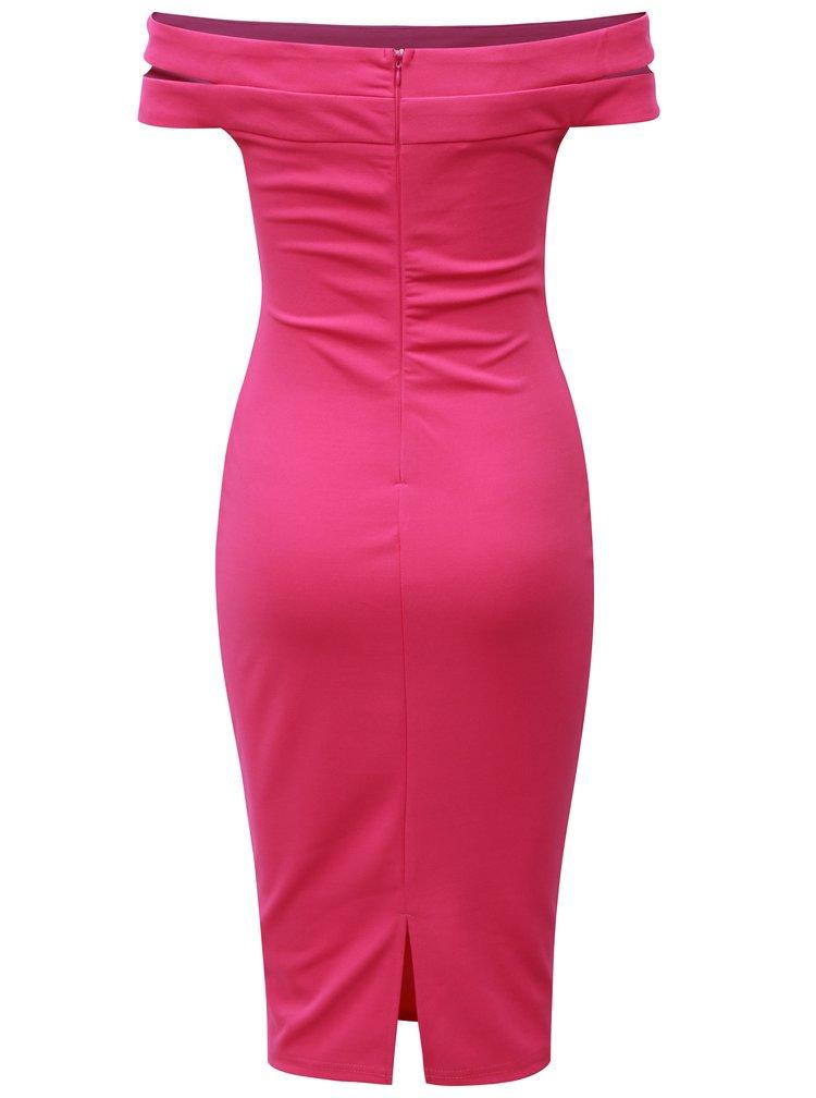 Tmavoružové puzdrové šaty s odhalenými ramenami AX Paris