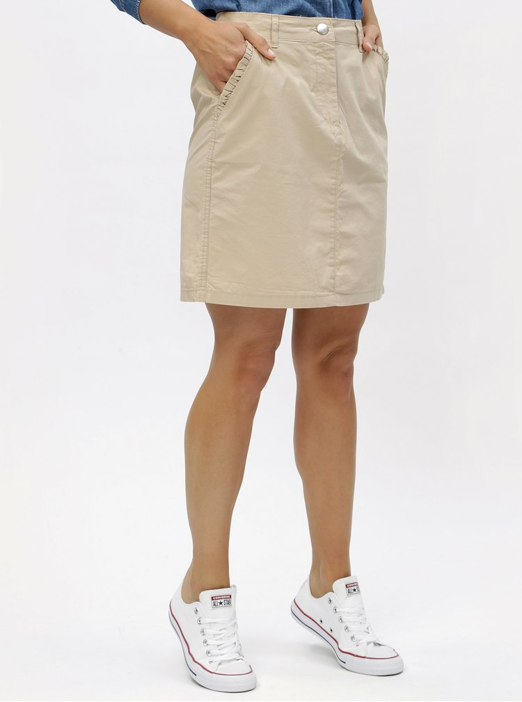 Béžová sukně s volánky na kapsách Dorothy Perkins
