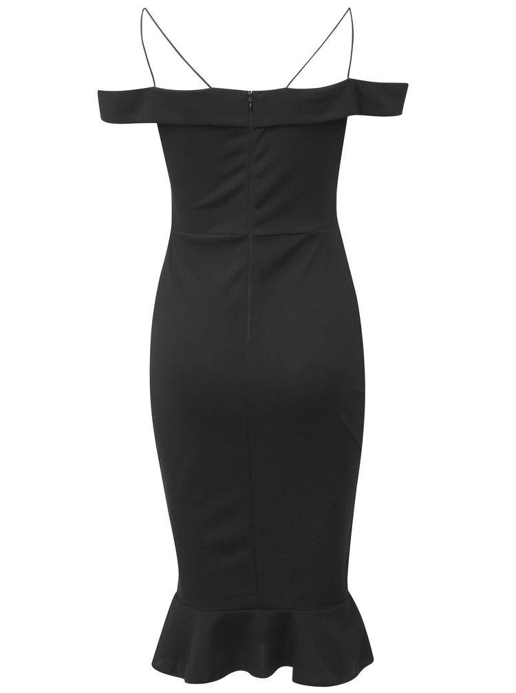 Černé pouzdrové šaty s odhalenými rameny a volánem AX Paris