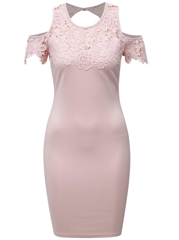 Světle růžové pouzdrové šaty s krajkou a průstřihy na ramenou AX Paris