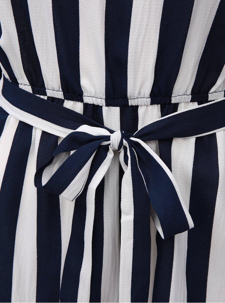 Bílo-modrý pruhovaný overal s dlouhými zvonovými rukávy AX Paris