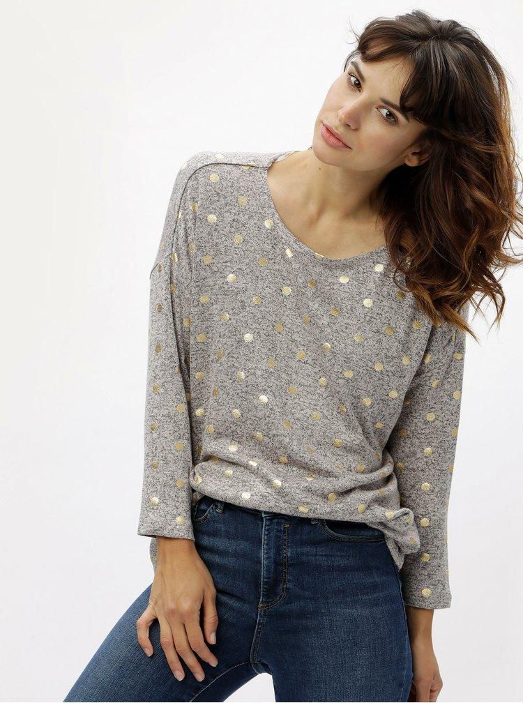 Růžovošedý žíhaný lehký svetr s puntíky ONLY