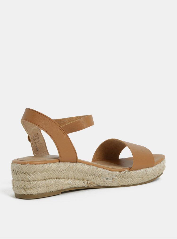 Hnědé sandálky na klínku Dorothy Perkins