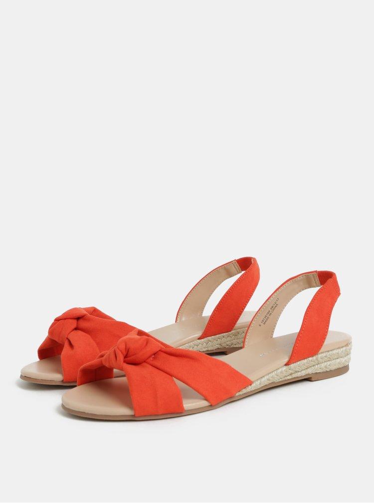 Oranžové sandály na nízkém klínku Dorothy Perkins