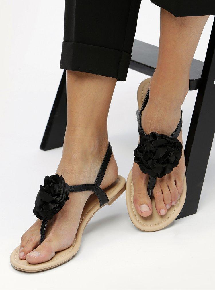 Černé sandály s aplikací ve tvaru květiny Dorothy Perkins