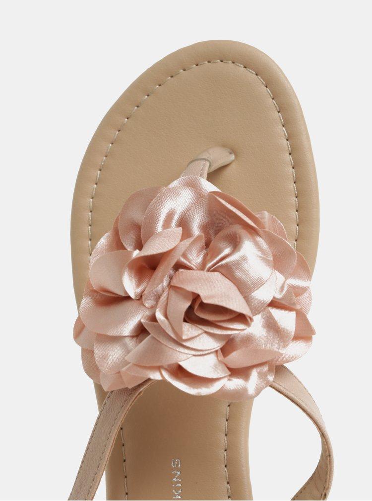 Sandale roz prafuit cu aplicatie in forma de flori Dorothy Perkins