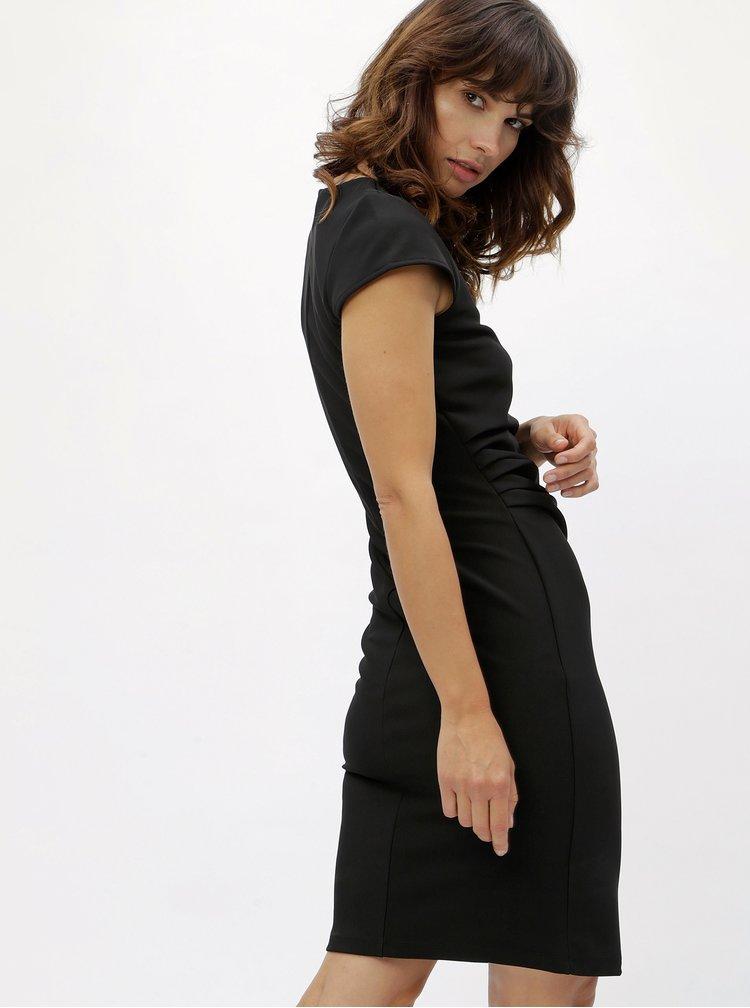 Černé pouzdrové šaty s řasením v pase VERO MODA Jonie