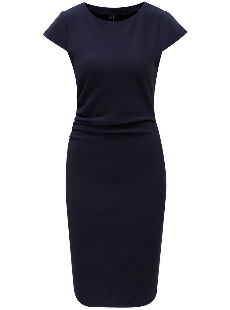 Tmavomodré puzdrové šaty s riasením v páse VERO MODA Jonie
