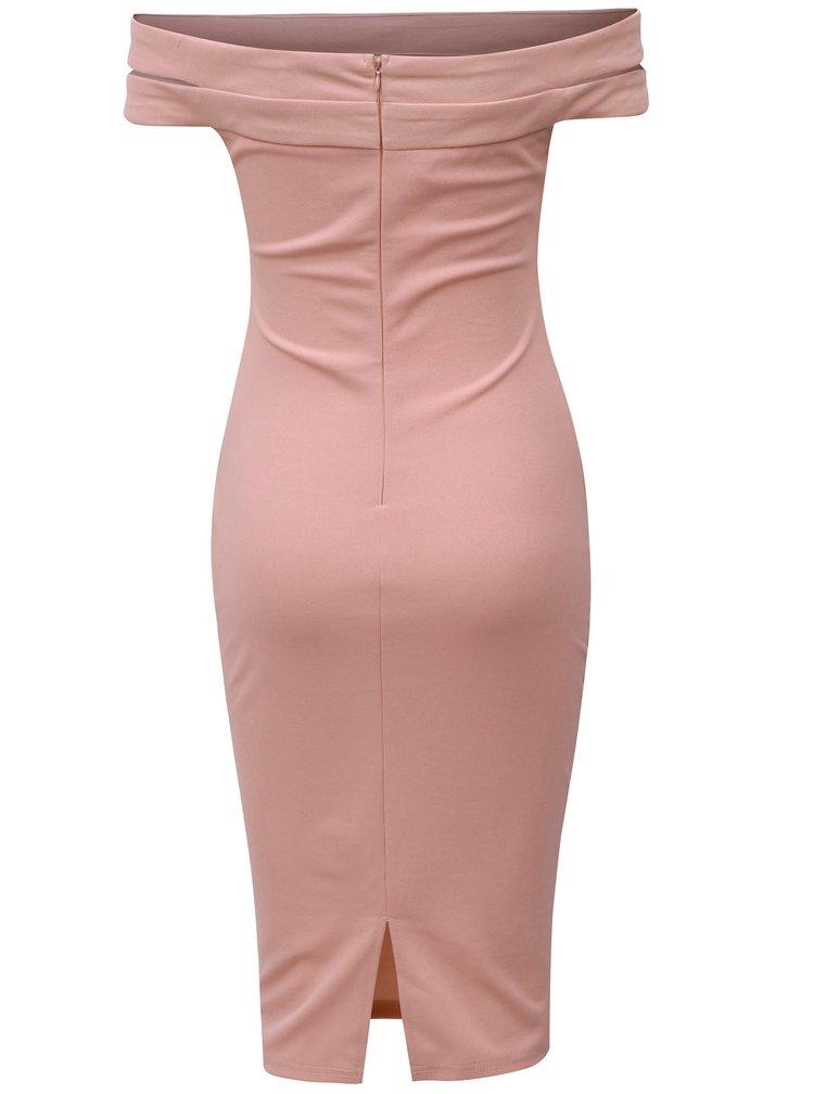 Růžové pouzdrové šaty s s odhalenými rameny AX Paris