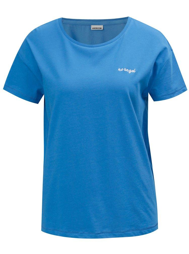 Modré tričko s výšivkou Noisy May Alfred