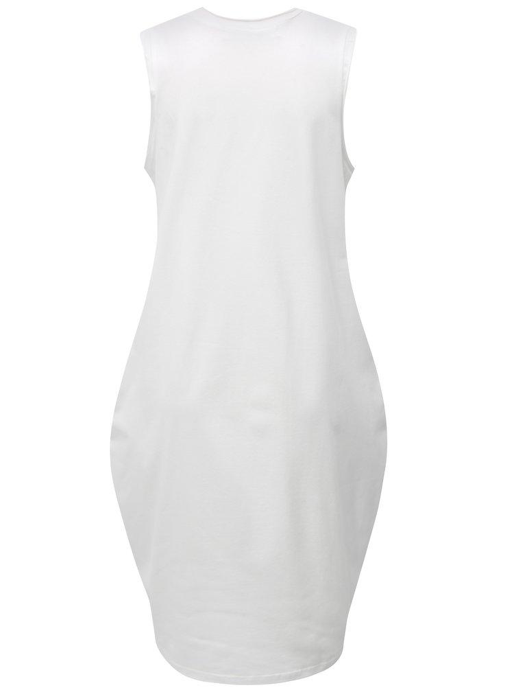 Bílé balónové šaty s potiskem kruhu Mikela da Luka