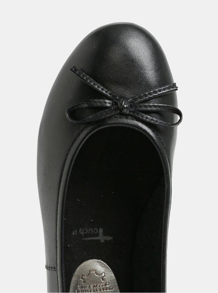 Černé kožené lesklé baleríny s mašlí Tamaris
