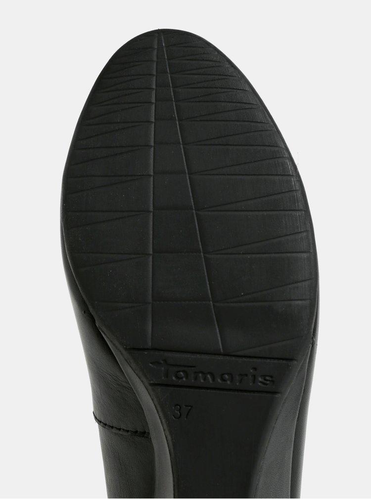 Černé kožené baleríny na klínku Tamaris