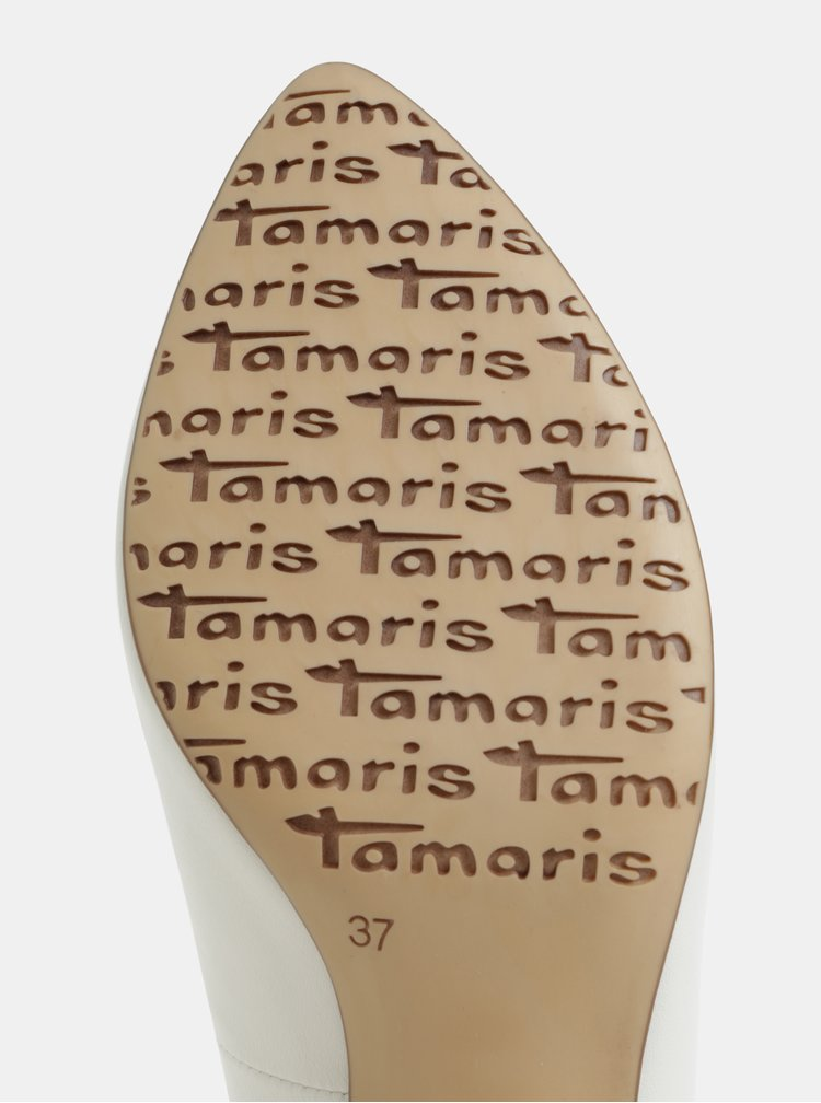 Biele matné lodičky na podpätku Tamaris
