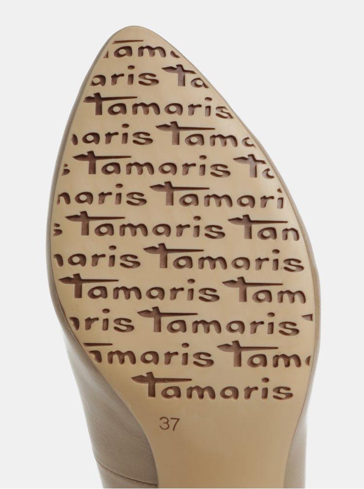Béžové lesklé lodičky na podpätku Tamaris