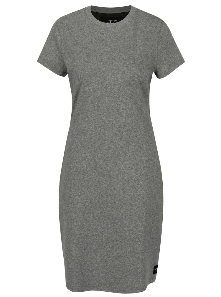 Šedé žíhané šaty s krátkým rukávem Calvin Klein Jeans Disosa