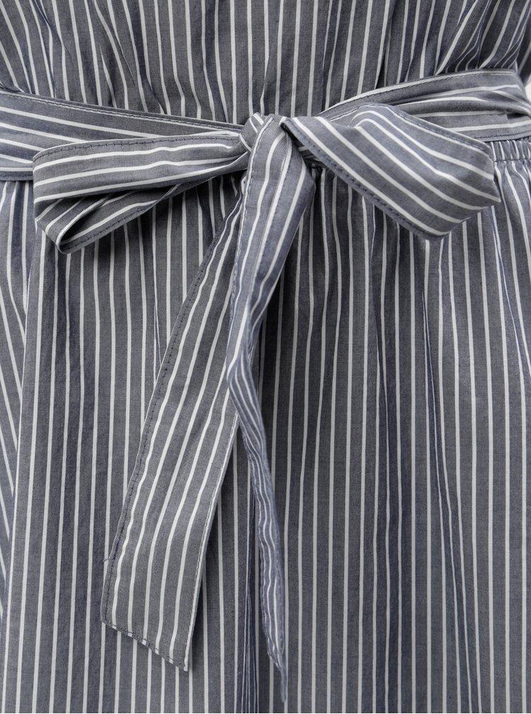 Rochie midi alb-albastru in dungi cu bretele s.Oliver