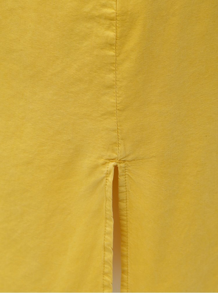 Hořčicové těhotenské košilové šaty s kapsou Mama.licious