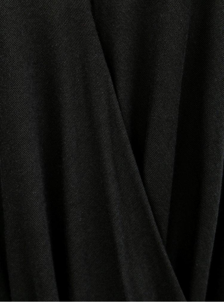 Černé oversize tričko s překládanou přední částí VILA Nexa