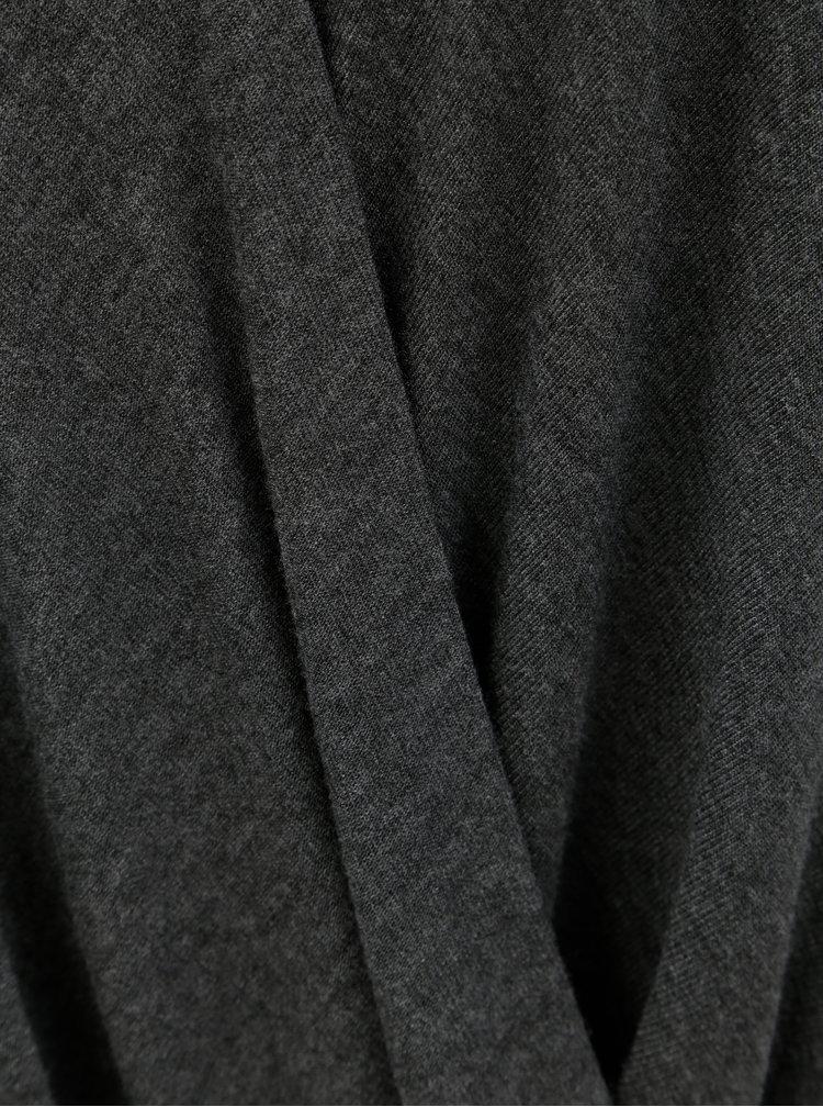 Tmavě šedé tričko s překládanou přední částí VILA Nexa