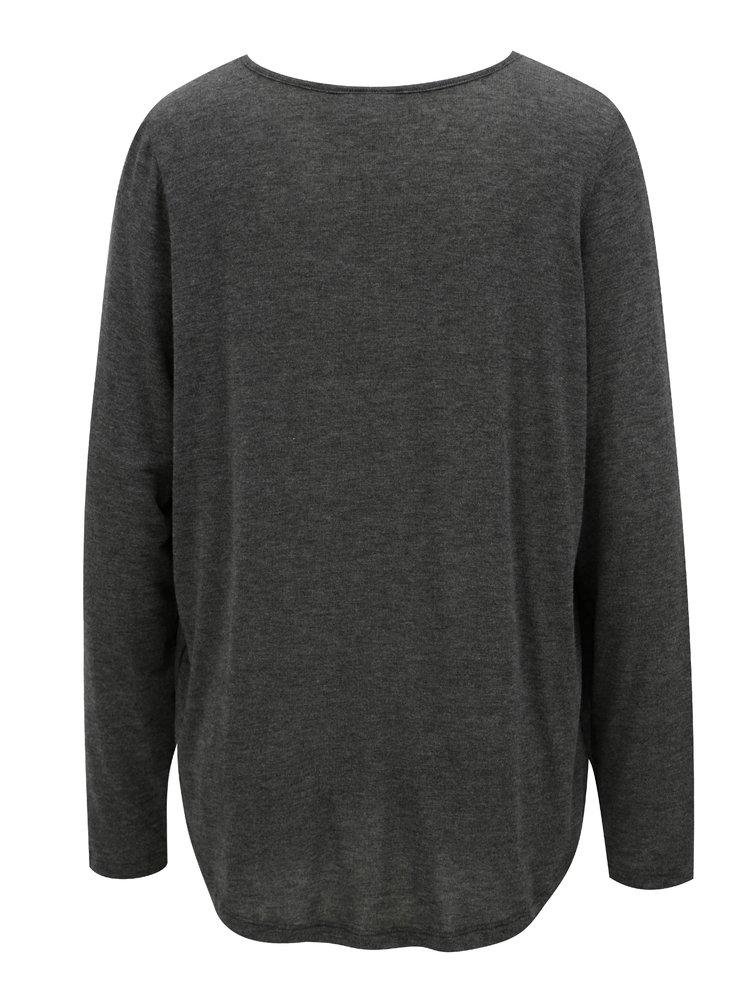 Tmavě šedé oversize tričko s překládanou přední částí VILA Nexa