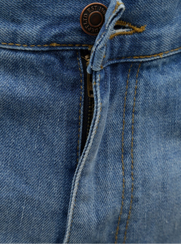 Modré rifľové kraťasy s nezakončeným lemom Burton Menswear London
